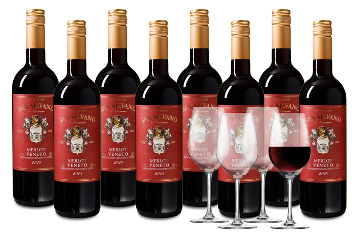 Wijnpakket San Silvano Merlot 8 flessen + 4 glazen