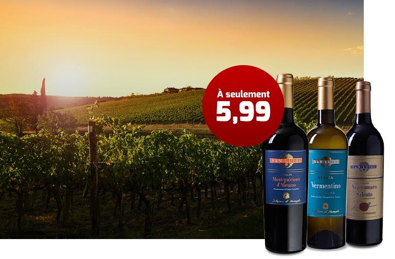 50 % réduction sur de grands vins italiens
